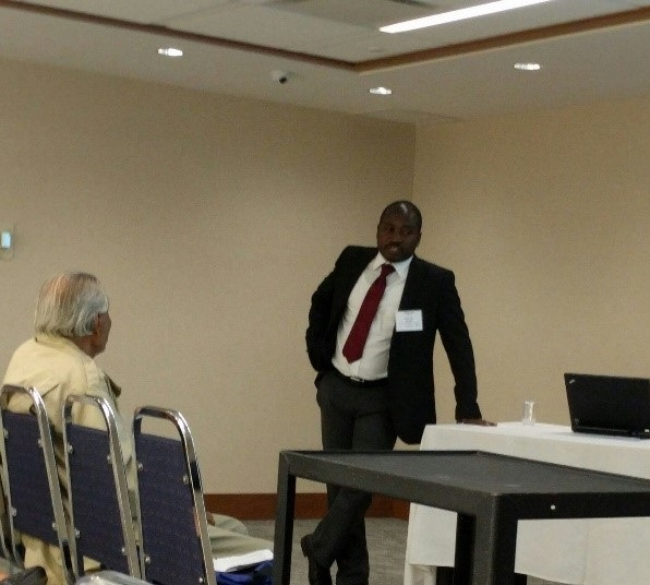 Picture of Kenneth J. Bansah giving a presentation                     at International Conference & Exhibition on Advanced & Nano Materials (ICANM) (Montreal, Canada - 2016)